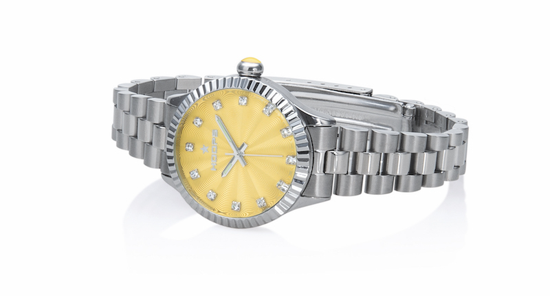 Orologio Hoops Luxury Diamonds Silver con quadrante giallo