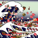 TOMOKO NAGAO, Hokusai-The Great Wave of Kanagawa with mc, cupnoodle, kewpie, kikkoman and kitty, 2012, Digital Art, 50 x 70 cm- 70 x 100 cm.jpe