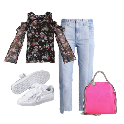Outfit floreale con jeans e sneakers - Stylight